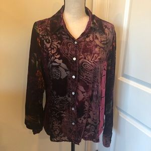 ⭐️⭐️Coldwater Creek Velvety Burnout Blouse